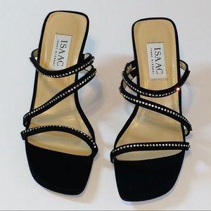 Isaac Mizrahi black satin crystal sandals 7.5 B
